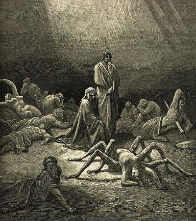 Aracne in un'incisione di Gustave Doré per il dodicesimo canto (c. XII) del Purgatorio